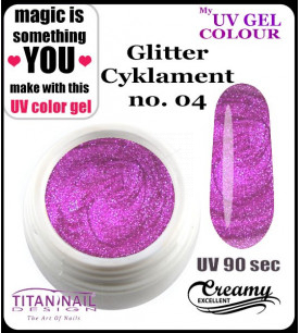 no. 04 - glitter cyklament - UV color Gel TND - Titan Nail Design