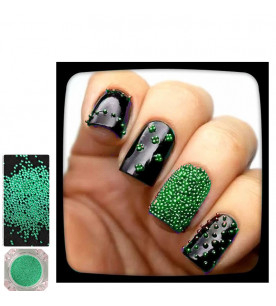 green caviar glitter nail...