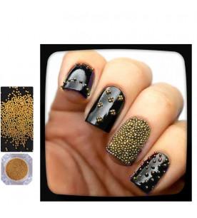 gold caviar glitter nail...