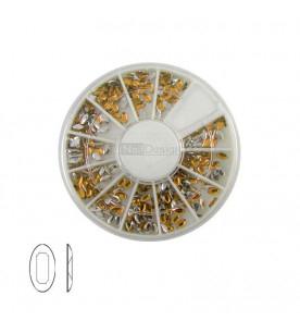 Oval rhinestones mix Nail Art